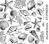 seamless black white pattern... | Shutterstock . vector #471998530