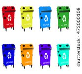 different colored recycle waste ... | Shutterstock .eps vector #472000108