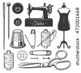 set of vintage monochrome... | Shutterstock . vector #472001668