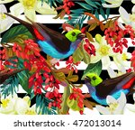 beautiful bird  red berries and ... | Shutterstock .eps vector #472013014
