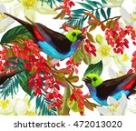 beautiful bird  red berries and ... | Shutterstock .eps vector #472013020
