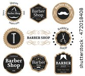 set of beige vintage barber... | Shutterstock .eps vector #472018408