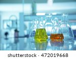 flask glassware in science... | Shutterstock . vector #472019668