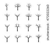 set naked black trees. vector... | Shutterstock .eps vector #472022260