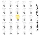 one burning bulb among not... | Shutterstock .eps vector #472024039