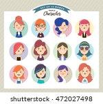 set of women avatars | Shutterstock .eps vector #472027498
