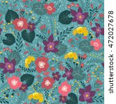 seamless pattern with floral... | Shutterstock .eps vector #472027678