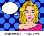 Pop Art Blond Woman With Gum O...
