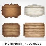 4 realistic wooden signs set.... | Shutterstock .eps vector #472038283