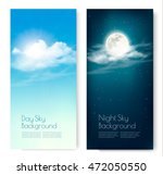 two contrasting sky banners  ... | Shutterstock .eps vector #472050550