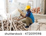 indian male contractor on site... | Shutterstock . vector #472059598