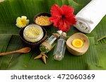 tropical spa setting and banana ... | Shutterstock . vector #472060369