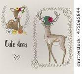two cute deers | Shutterstock .eps vector #472062844