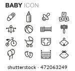 vector black line baby icons... | Shutterstock .eps vector #472063249