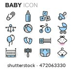 vector flat line baby icons set ... | Shutterstock .eps vector #472063330