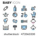 vector flat line baby icons set ... | Shutterstock .eps vector #472063330