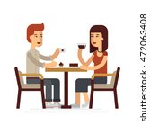 man and woman drinking coffee... | Shutterstock .eps vector #472063408