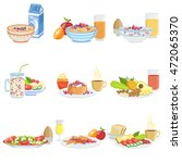different breakfast food and... | Shutterstock .eps vector #472065370