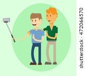 two man taking selfie photo on... | Shutterstock .eps vector #472066570