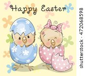 greeting easter card two... | Shutterstock . vector #472068598
