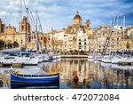 harbor of valletta - malta - stock photo
