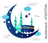 glossy crescent moon with... | Shutterstock .eps vector #472072744