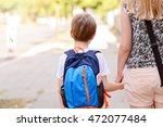 little 7 years old boy going to ... | Shutterstock . vector #472077484