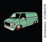 old vintage low van . vector... | Shutterstock .eps vector #472081078