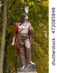 Small photo of MOUNT KISCO, NEW YORK, USA - OCTOBER 9, 2004: Painted metal statue of native american indian, donated 1907, by resident and temperance leader David Gotham. Statue cast by J. L. Ironworks, NY.