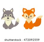 cartoon wolf and fox | Shutterstock .eps vector #472092559