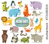 Set Of Funny Animals. Vector...