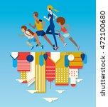 people running in the city with ... | Shutterstock .eps vector #472100680