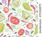 watercolor vegetarian pattern   ...   Shutterstock . vector #472104079