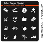 set of icons on fitness. simply ... | Shutterstock .eps vector #472105039