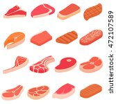 steak icons set in cartoon... | Shutterstock .eps vector #472107589