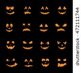 set of 16 halloween pumpkins ... | Shutterstock .eps vector #472111744