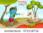 kanha with cow on krishna... | Shutterstock .eps vector #472118716