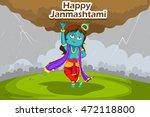 kanha lifting mount govardhan... | Shutterstock .eps vector #472118800