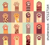 Cat's Paw Flat Icon Set In...