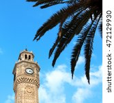 Small photo of close up shot of clock tower in Izmir, Turkey