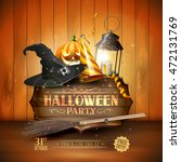 modern halloween party flyer... | Shutterstock .eps vector #472131769