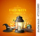 happy halloween greeting card... | Shutterstock .eps vector #472131883