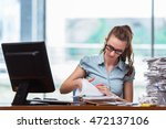 stressed businesswoman with... | Shutterstock . vector #472137106