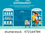 happy family in supermarket.... | Shutterstock .eps vector #472164784