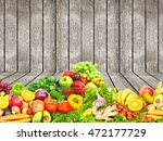 vegetables and fruits over... | Shutterstock . vector #472177729