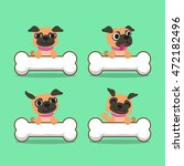cartoon character pug dog with... | Shutterstock .eps vector #472182496