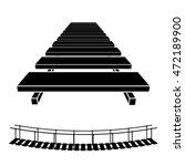 3d simple wooden bridge black... | Shutterstock .eps vector #472189900