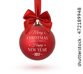 red christmas ball with ribbon... | Shutterstock .eps vector #472189948