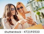 beautiful smiling girls making... | Shutterstock . vector #472193533