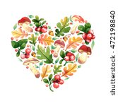 isolated watercolor heart shape ... | Shutterstock . vector #472198840